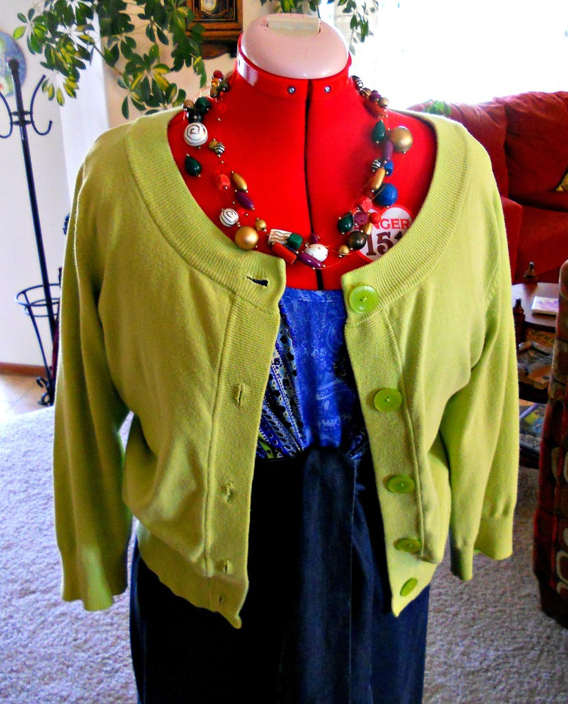 With Cardigan and Necklace